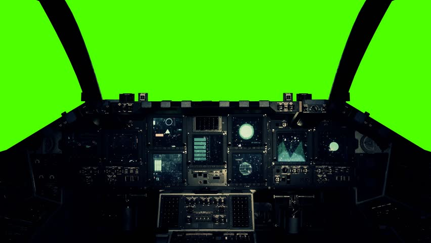 Spaceship Cockpit in a Pilot Point of view on a Green Screen