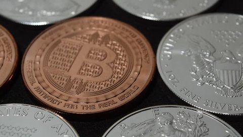 Technology Computers Online Payment Bitcoin Investment Silver Bullion Coins - Sliding to Right