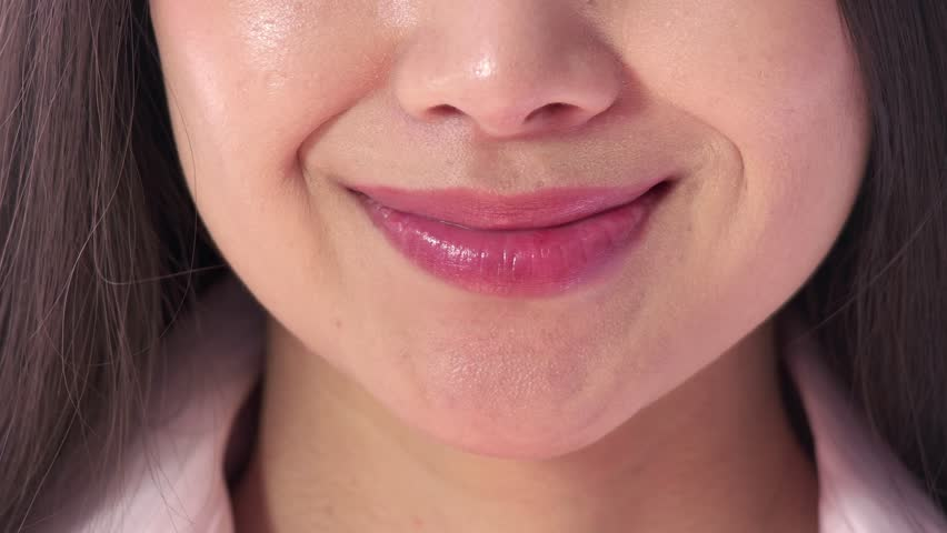 Extreme Close Up Of Lips 18-Year-Old Girl With Smile -4560