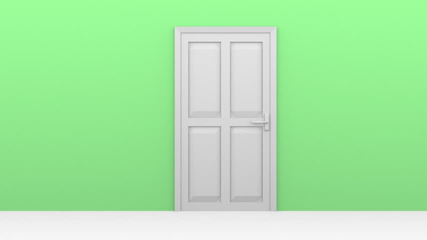 A open door in white on a green wall #13443104