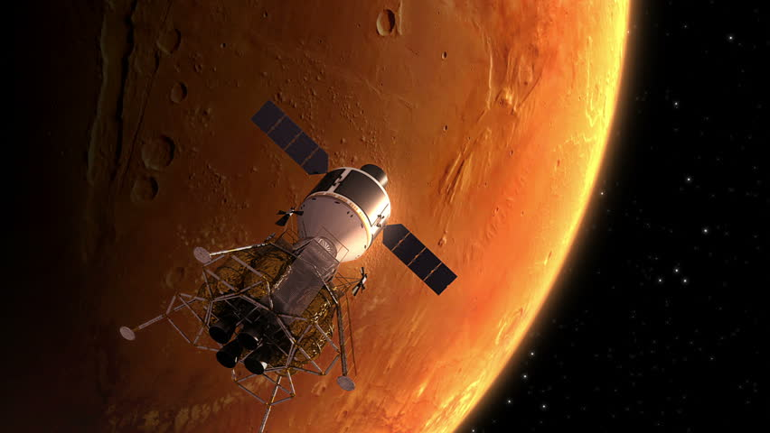 Interplanetary Space Station Orbiting Mars. 3D Animation.