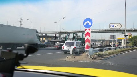 MOSCOW, RUSSIA - AUG 20, 2014: Turn from MRHW (Moscow Ring Highway) to Leningradskoye highway.
