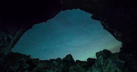 Aurora Borealis through a cave