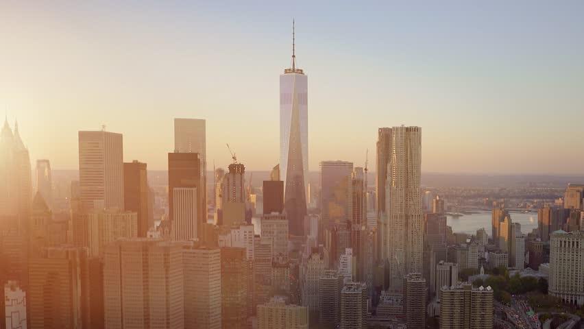 Aerial view at night of city skyline. establishment shot of high rise metropolis landmark   Shutterstock HD Video #13542983