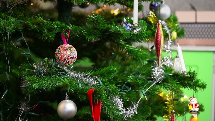 Woman Decorate Christmas Tree   HD Stock Video Clip
