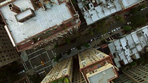 helicopter aerial view of megacity metropolis urban landmark. new york city skyline background. shot on red epic