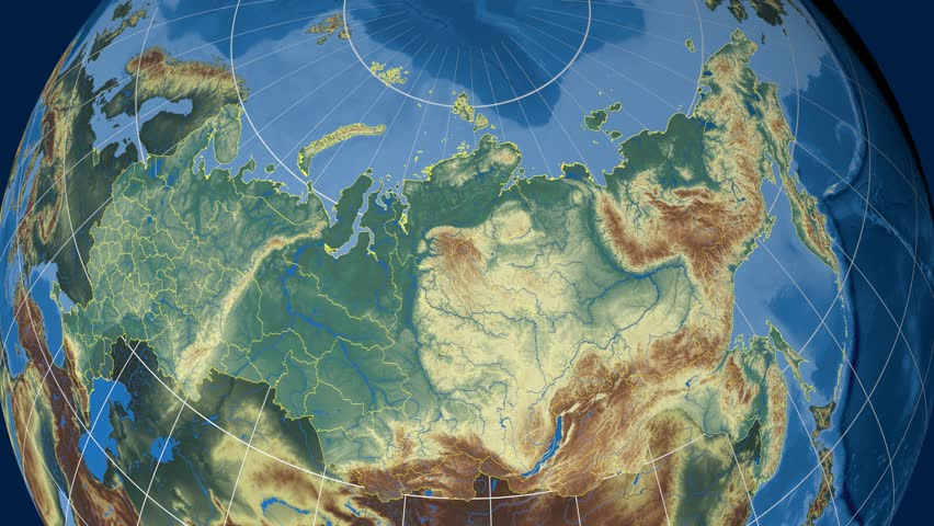 Chita Region Extruded On The Physical Map Of Russia Rivers And - Physical map of russia