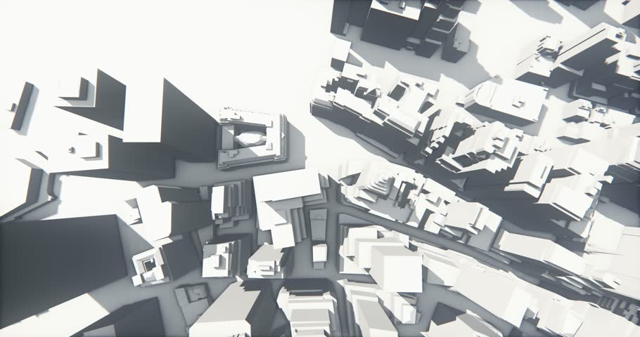 4k abstract urban business construction,flying over 3D Virtual Geometric City Office Buildings,aerial view of NewYork,web tech. cg_03246_4k