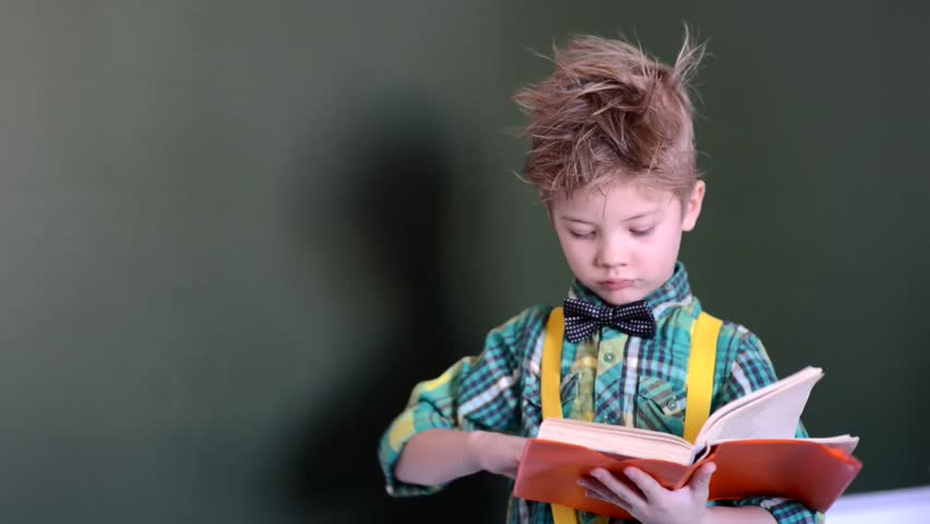 Young student reading a book near empty green chalkboard | Shutterstock HD Video #13651073