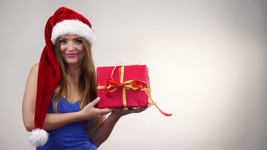 Woman Holding Red Present Gift Box For Christmas. Pretty Happy ...