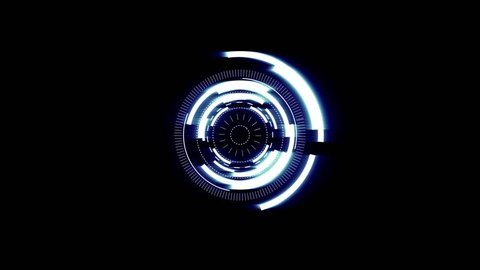 Futuristic screensaver with code hologram. HUD Heads Up Display Scanner high tech target digital read out. Abstract digital background with geometric particles