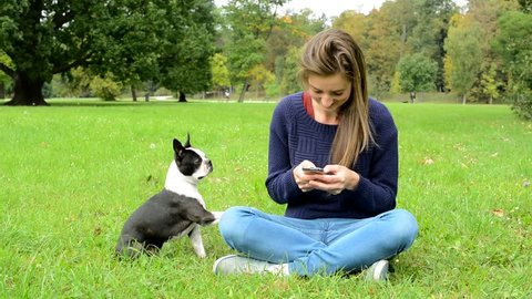 young attractive happy woman writes messages on the smartphone and ignores her french bulldog - she sits in the park - bulldog asks for attention by paw