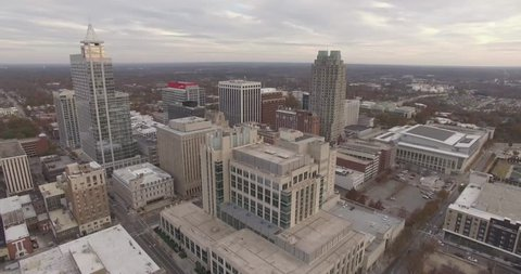 Aerial footage of downtown Raleigh, NC in November.