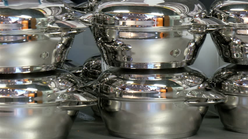 Tin Pots And Pans In The Kitchen Showcase In Expo Event In Milan Italy   4K