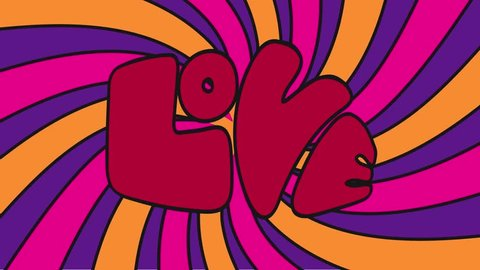 Psychedelic colors pop art animation of the word Love.