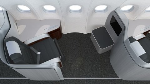 Luxurious business class cabin interior with metallic gold partition.  3D animation in original design.