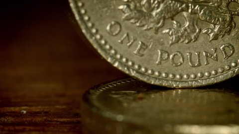 British Pound Coin in full macro close up HD stock footage. An extreme close up of a British pound coin filling the whole frame with a dolly camera move