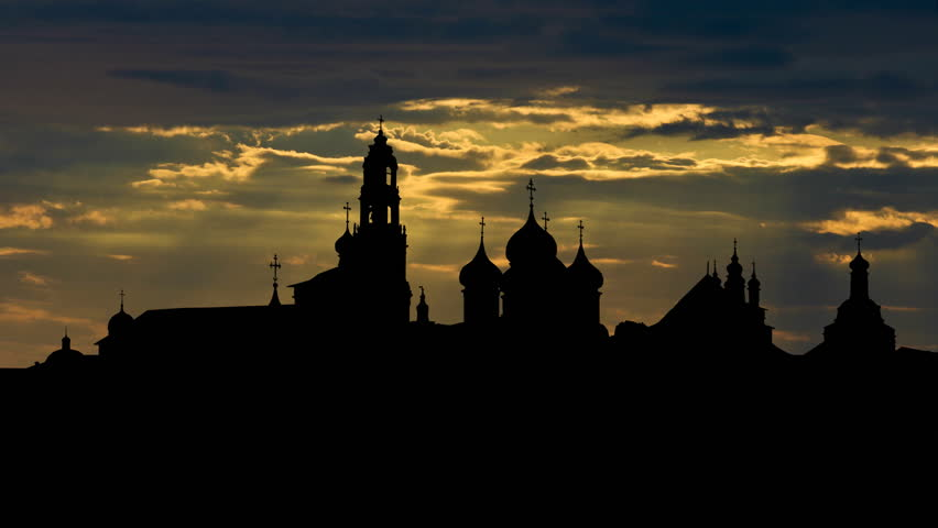 Trinity Lavra of St.Sergius monastery with passing clouds in the sunset,  it is located in the town of Sergiyev Posad  founded in the 14th century, part of the UNESCO World Heritage list.