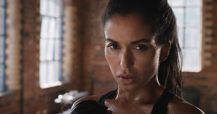 Portrait of Beautiful Kickboxing woman breathing heavily in fitness studio tired from workout strength fit body slow motion kickboxer series | Shutterstock HD Video #13757033