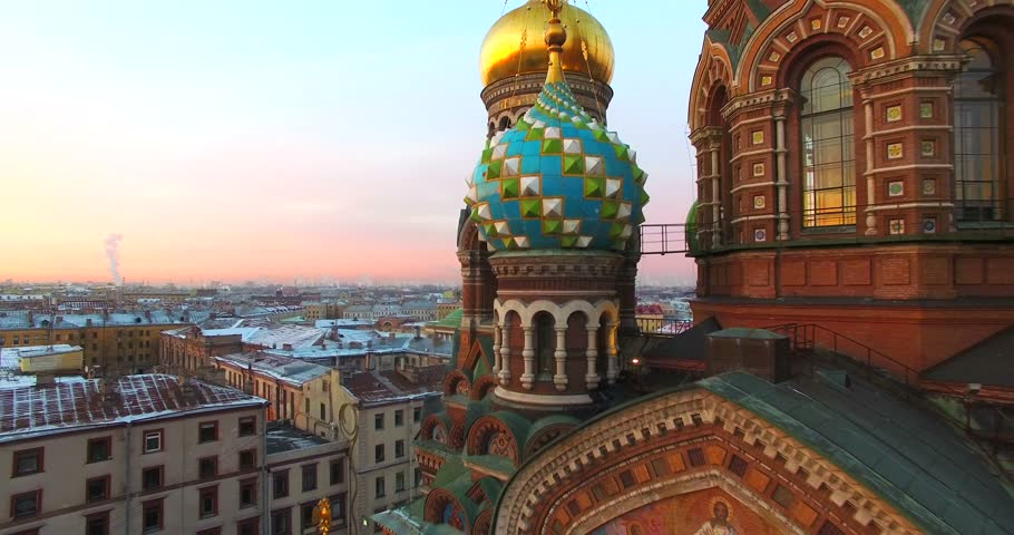 Aerial view of the Domes of the Church of the Saviour on Spilled Blood at sunset, St. Petersburg, Russia. The church was built between 1883 and 1907, now it is one of the main St. Petersburg's sights.