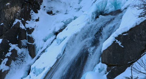 in winter the impressive Krimml Waterfalls  are just a tiny frozen stream, Krimml, Austria in February 2015, 4K, Raw