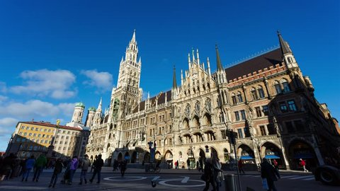 The City Hall on the main square Marienplatz in Munich, Germany