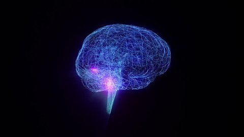 Wired human brain with electric impulses flashing. Synapsis. Loopable. 2 in 1. Blue and gray. Biology Background.