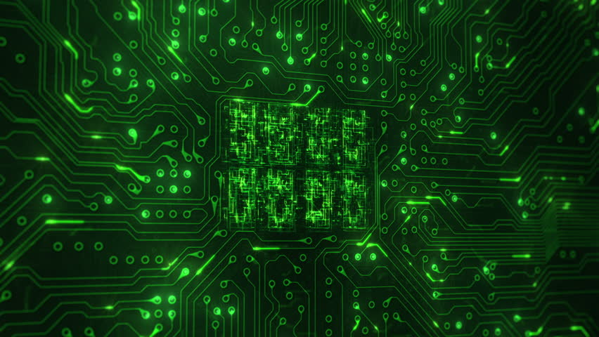 Futuristic circuit board with moving electrons. 180 shot with CPU animation. Technology. Green. | Shutterstock HD Video #13805393