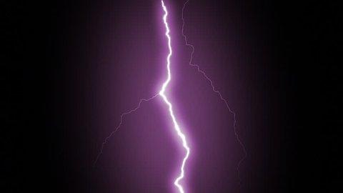 Several lightning strikes over black background. Purple.