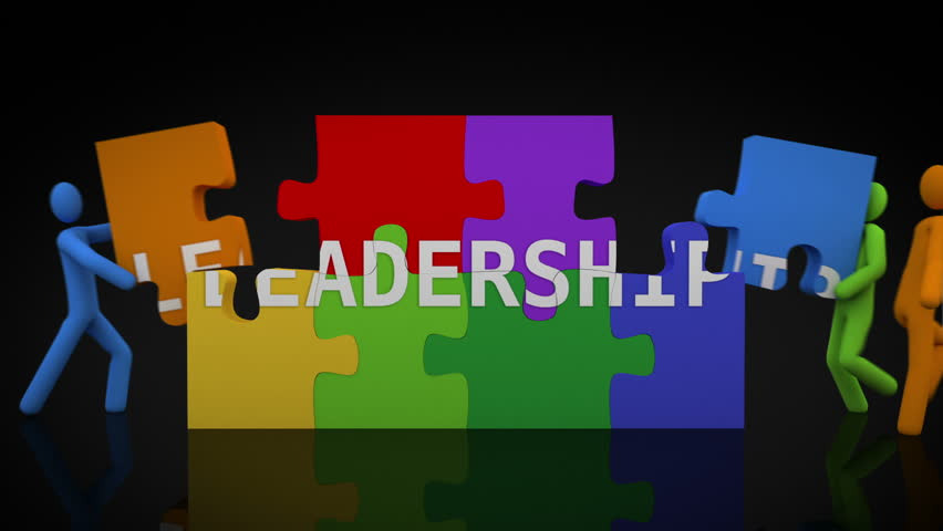 Leadership puzzle. Black Background. 2 videos in 1 file. 3D characters doing a puzzle with the word LEADERSHIP over black background.   Shutterstock HD Video #13811903