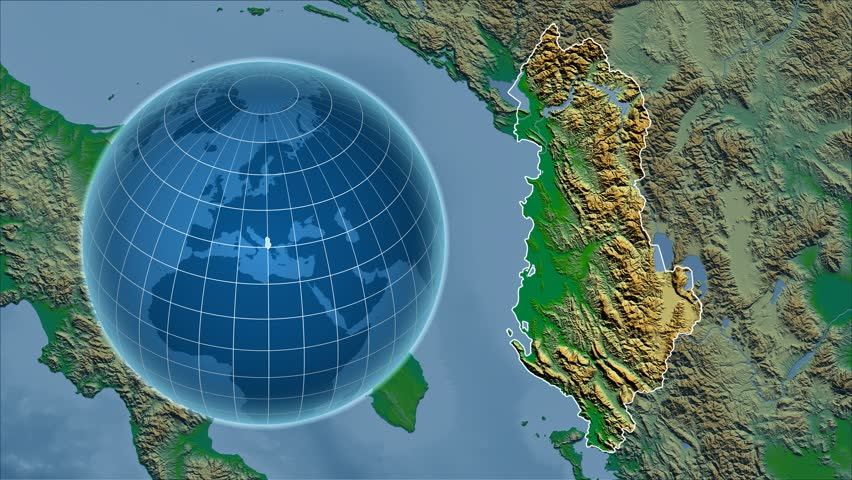 Albania Shape Animated On The Physical Map Of The Globe Rivers - Albania satellite map