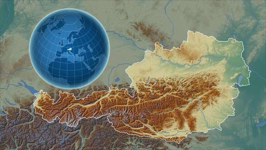Austria Shape Animated On The Relief Map Of The Globe Rivers And - Austria physical map