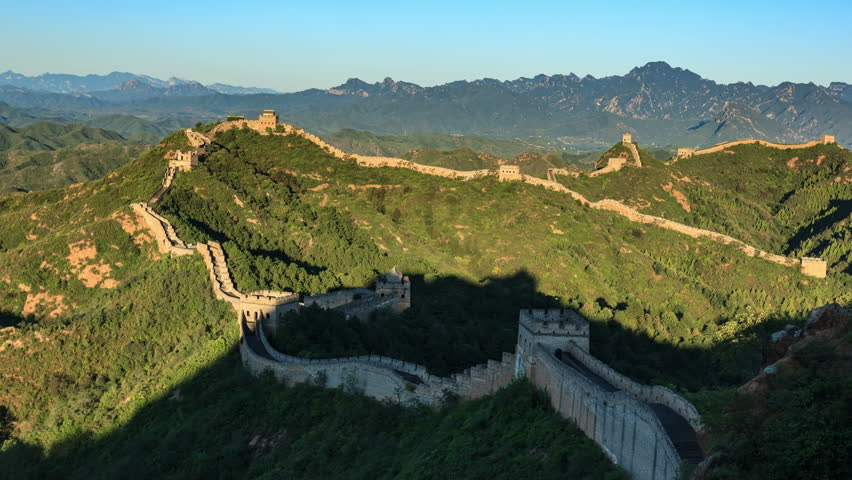 "Sunrise of Great Wall of China (Panning Shot, 4k Time-Lapse Video). Aerial view of Jinshanling Great Wall near Beijing, China.  - >>> Please search similar: "" ChinaGreatWall "" ."