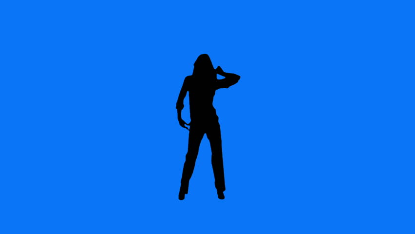 Young and sexy woman dancing. Blue background.