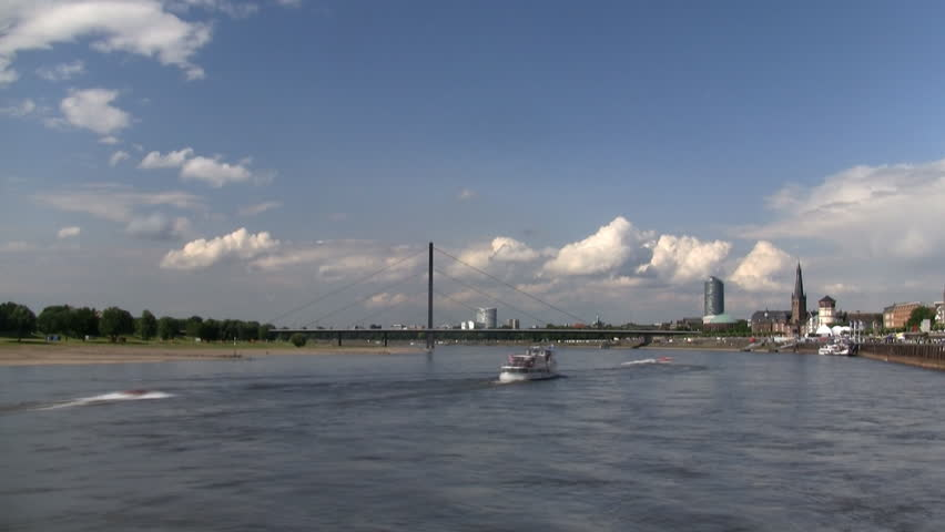Dusseldorf timelapse with boats on the river Rhine