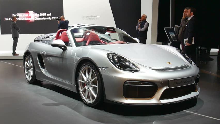 brussels belgium january 12 2016 silver porsche boxster spyder open sports car