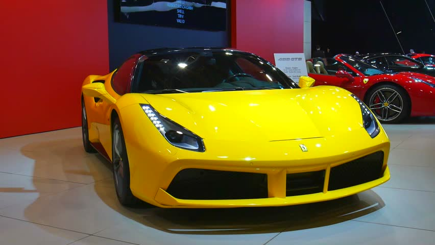 brussels belgium january 12 2016 ferrari 488 gtb yellow sports car on - Ferrari 2014 Yellow