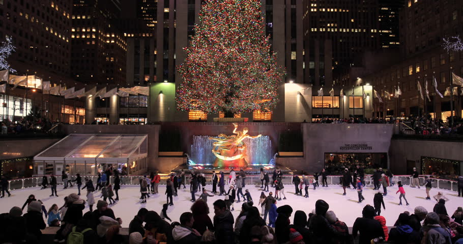 NEW YORK - CIRCA DECEMBER 2015: Rockefeller Center christmas tree and ice skate rink