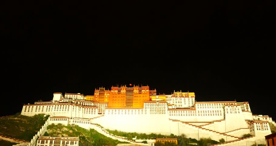 4k Brightly lit Potala at night in Lhasa,Tibet. gh2_09689_4k