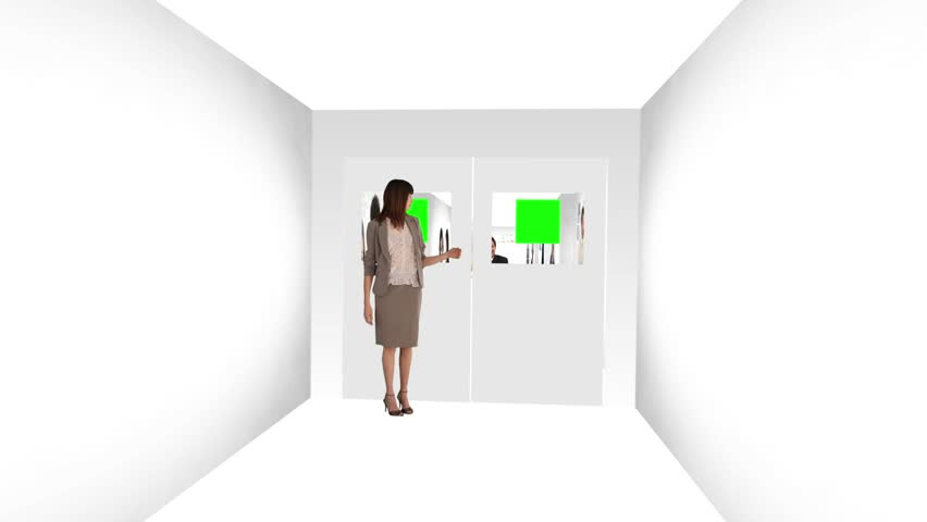 Woman opening the doors of an animated corridors about communications