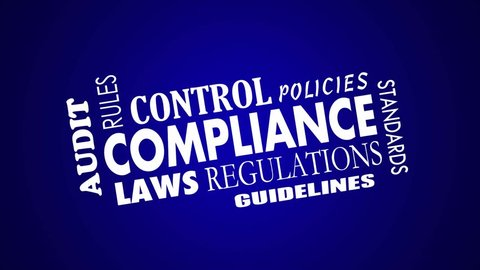 Compliance Rules Regulations Laws Animated Word Collage