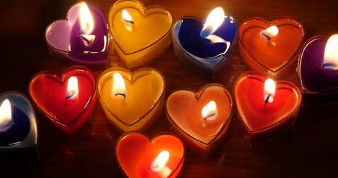 4k Candles burning in the night,heart shape,Merry Christmas And Happy New Year. gh2_11208_4k