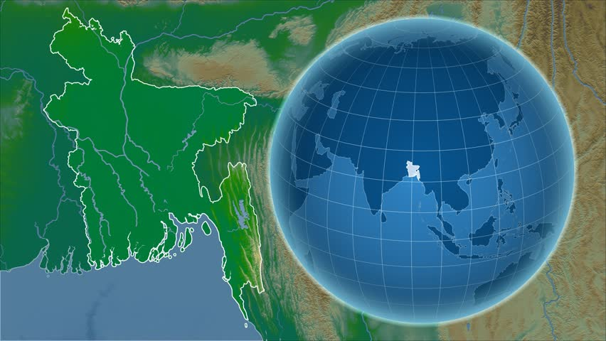 Bangladesh shape animated on the relief map of the globe stock bangladesh shape animated on the physical map of the globe 4k stock video clip gumiabroncs Image collections