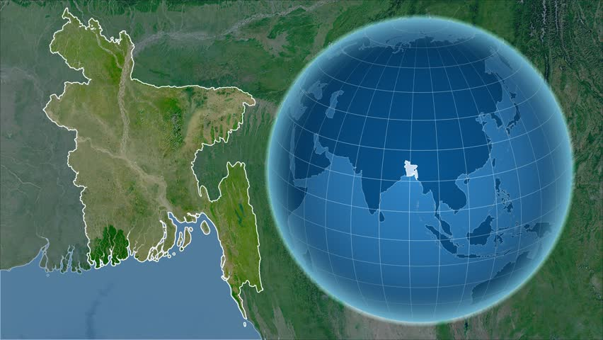 Bangladesh shape animated on the satellite map of the globe