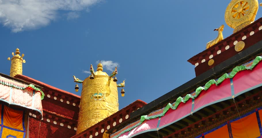 4k closeup of The Jokhang Temple In Lhasa,Tibet,white clouds in blue sky. gh2_09657_4k