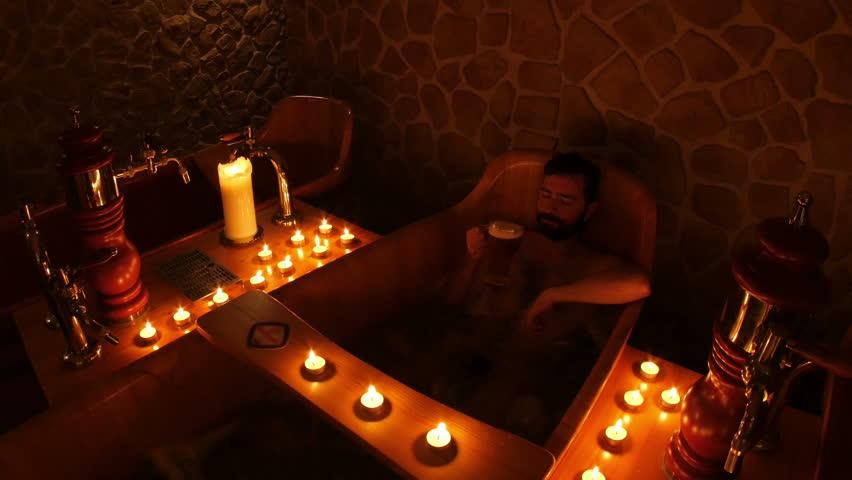 Happy Man In Czech Beer Spa In Prague 4k Stock Video Clip
