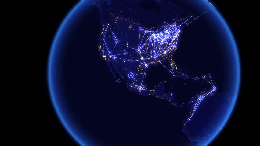 Global communications through the network of connections over Australia, Far East, Asia, Europe and America. Concept of internet, social media, traveling. High resolution texture of city lights. 4k.
