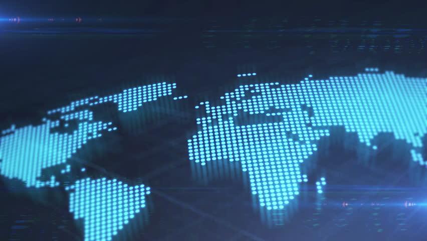 Digital World Map, Seamless Loop. Stock Footage Video (100 ... on