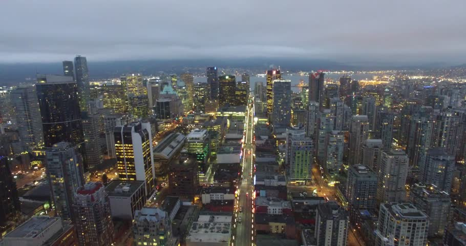 VANCOUVER,CANADA - CIRCA January 2016 :aerial early morning back sweep over downtown | Shutterstock HD Video #14052323