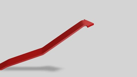 Red arrow. Red arrow chart pointing up. Stock market, business.